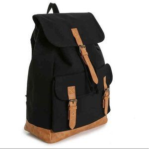 DSW Black Canvas Backpack Bag - NEW - Drawstring &